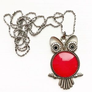 Vintage silver & ruby red enamel owl necklace